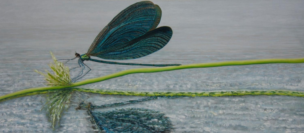 Marianne Dijkstra, 2012, Dragonfly, 16x70 cm, olie op doek
