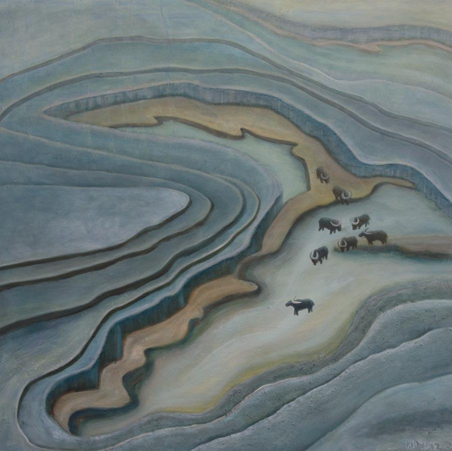 Marianne Dijkstra, 2012, Strong energy, 100x100 cm, olie op doek