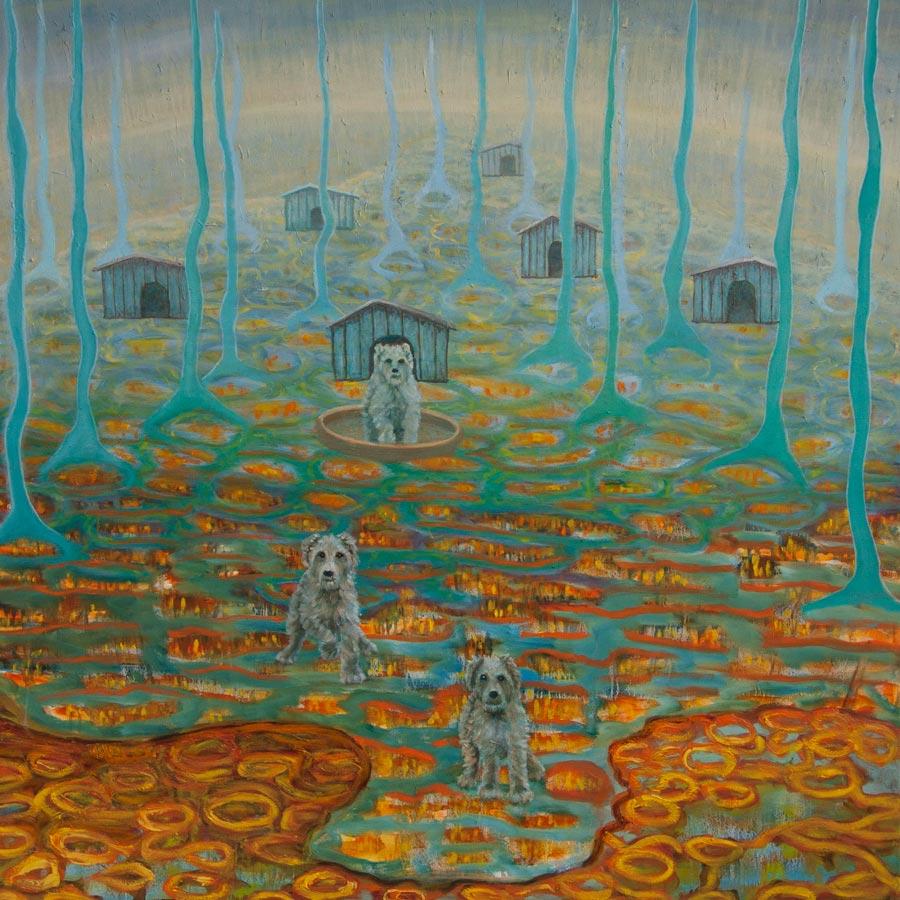 Marianne Dijkstra, 2013, Dogs place, 100x100 cm, olie op doek