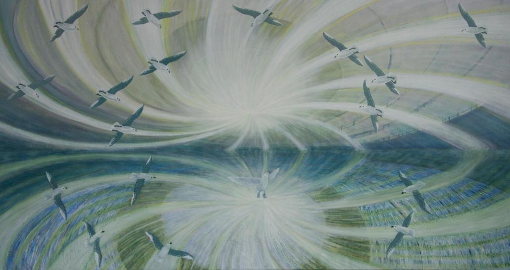 Marianne Dijkstra, 2013, Joy flight, 170x90 cm, olie op doek