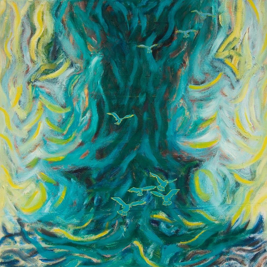 Marianne Dijkstra, 2015, Stormy petrels, 80x80 cm, olie op doek