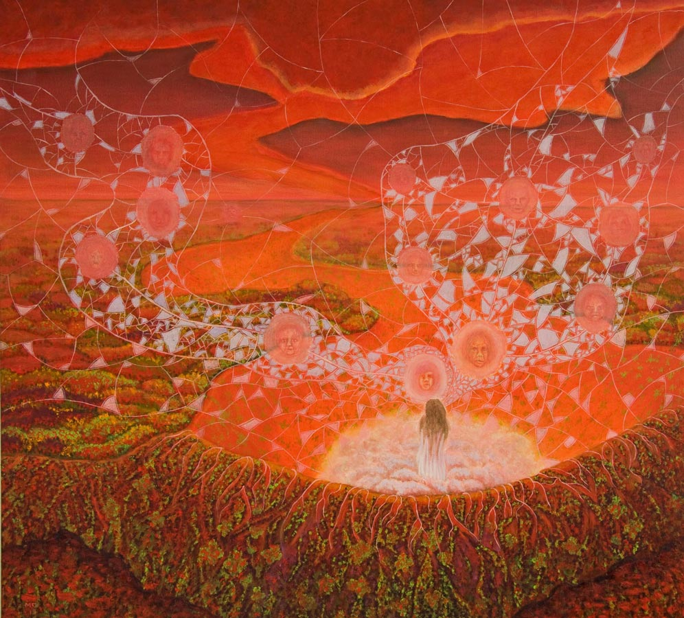 Marianne Dijkstra, 2015, Web of life, 110x100 cm, olie op doek