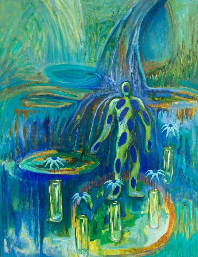 Marianne Dijkstra, 2016, Blue blood, 110x140 cm, olie op doek