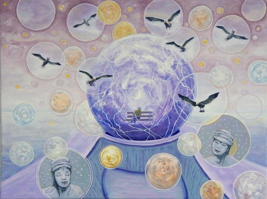 Marianne Dijkstra, 2017, Imagine your world, 80x60 cm, olie op doek