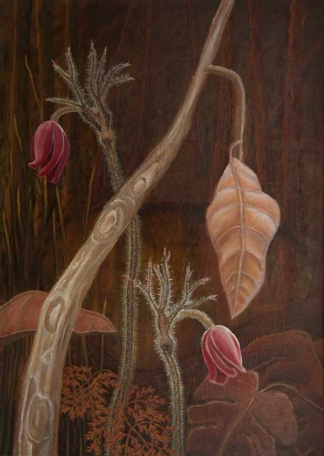 Marianne Dijkstra, 2017, Red flower, 50x70 cm, olie op doek