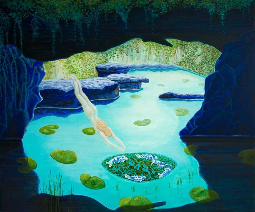 Marianne Dijkstra, 2018, Bleu lake, 120x140 cm, olie op doek