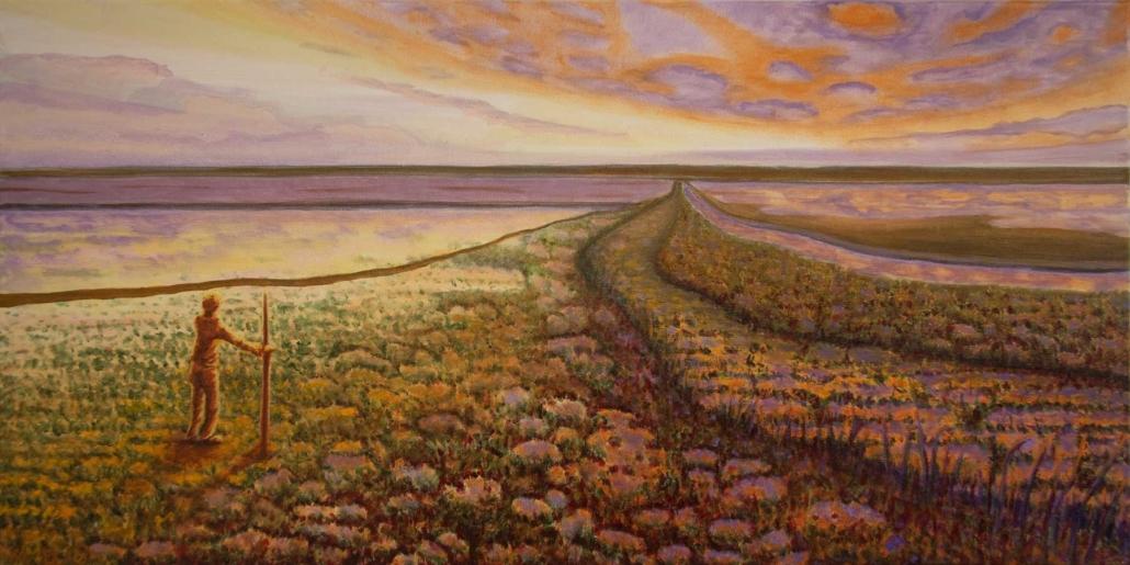 Marianne Dijkstra, 2018, Coloured land, 80x40 cm, olie op doek