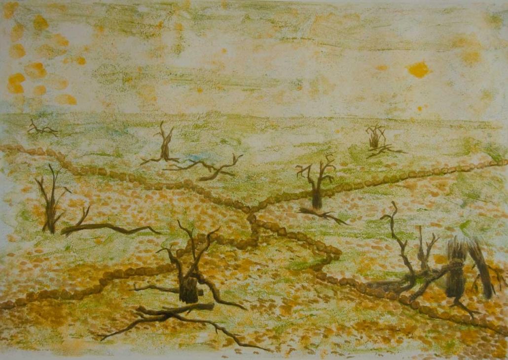 Marianne Dijkstra, 2018, Forgotten land, 80x60 cm, gemengde techniek