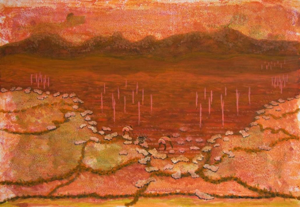 Marianne Dijkstra, 2018, Red lake, 80x60 cm, gemengde techniek