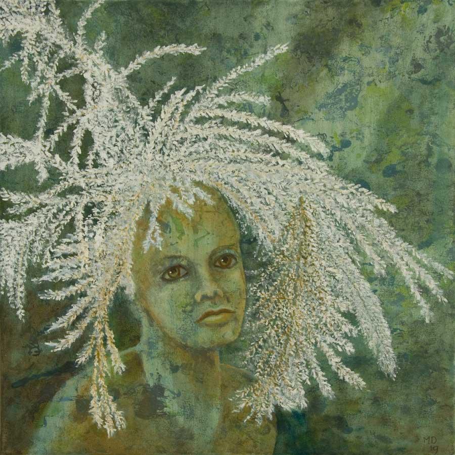 Marianne Dijkstra, 2019, Universal women 5, 40x40 cm, olie op doek