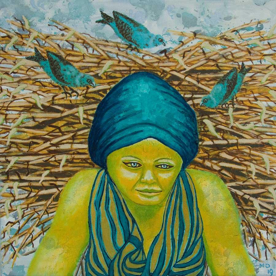 Marianne Dijkstra, 2019, Universal women 7, 40x40 cm, olie op doek
