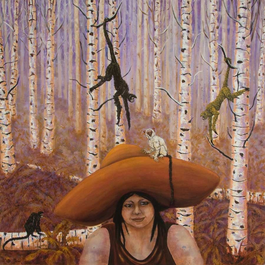 Marianne Dijkstra, 2020, Big hat 70x70 cm, olie op doek
