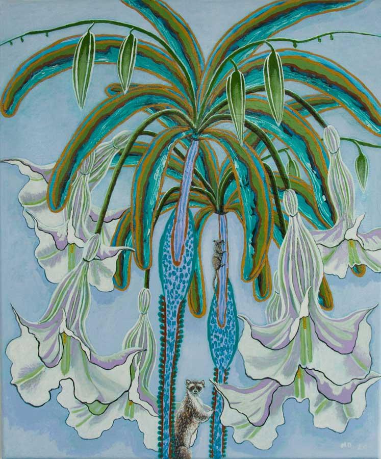 Marianne Dijkstra, 2020, Flower, power, 50x60 cm, olie op doek