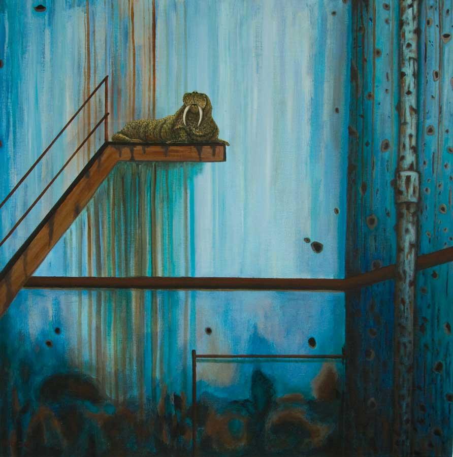 Marianne Dijkstra, 2020, Perspektive on time, 100x100 cm, olie op doek