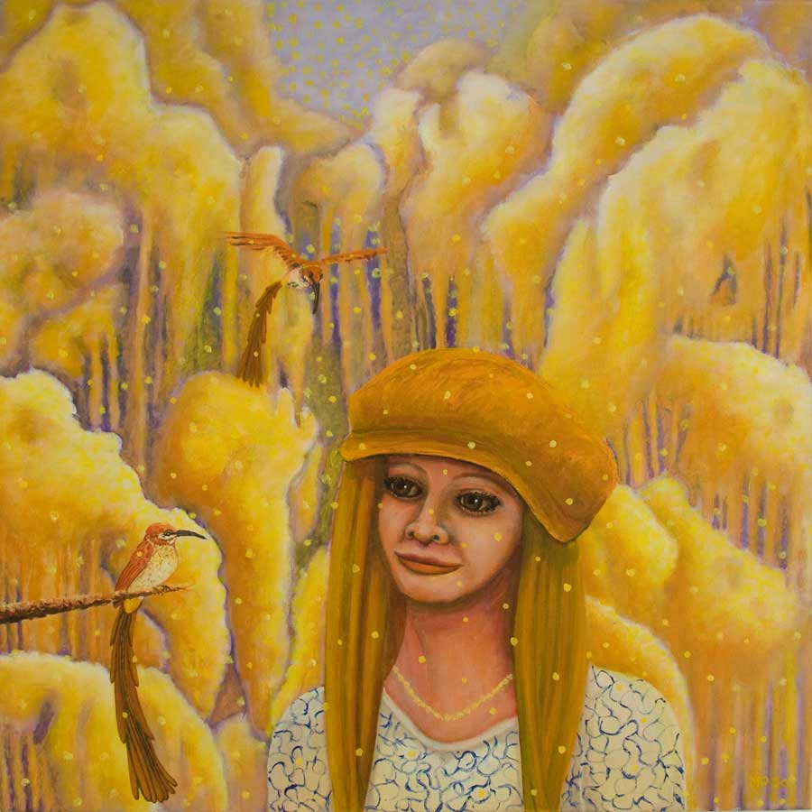 Marianne Dijkstra, 2020, The woman who likes yellow, 70x70 cm, olie op doek