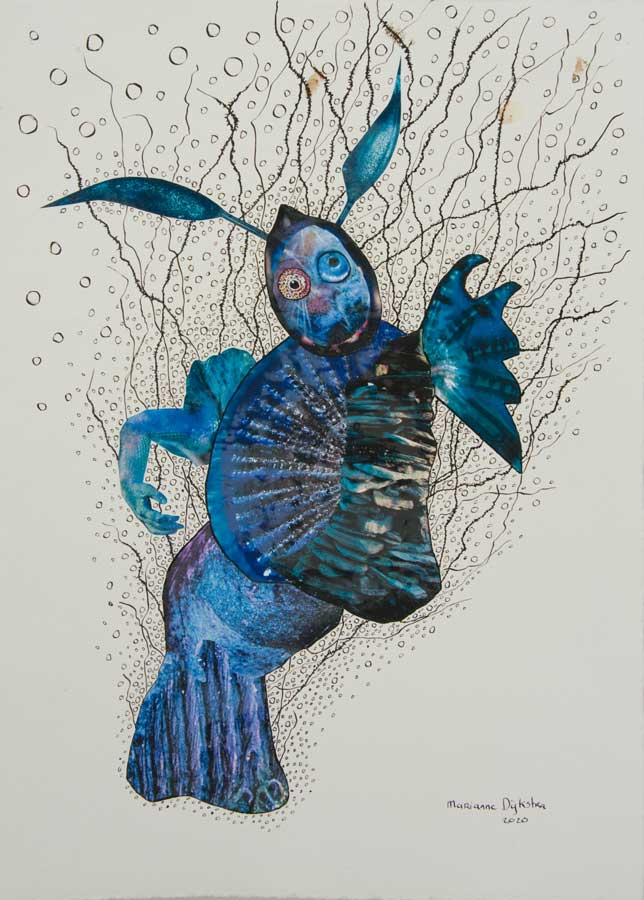 Marianne Dijkstra, 2020, Waternimpf Mary, 50x60 cm, gemengde techniek